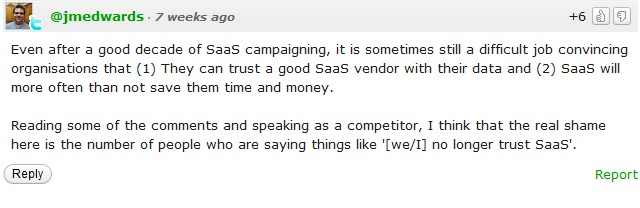 Kayako comment on Zendesk SaaS