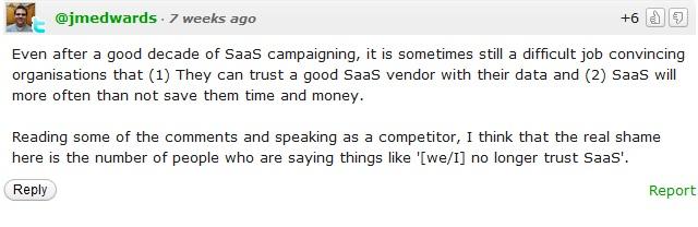 Kayako comment on Zendesk SaaS