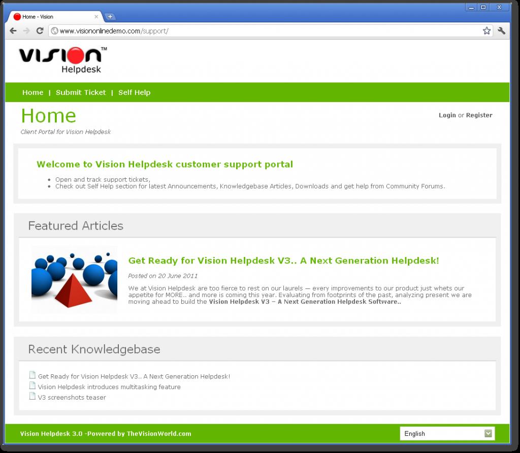 Vision Helpdesk V3 Client Portal Teaser