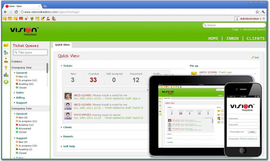 Vision Helpdesk V3 Manage Portal Screenshot Teaser